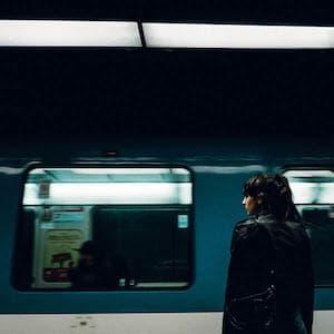Teen waiting for subway