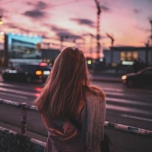 girl facing street